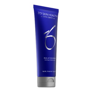 bottle of blue zo dual action scrub